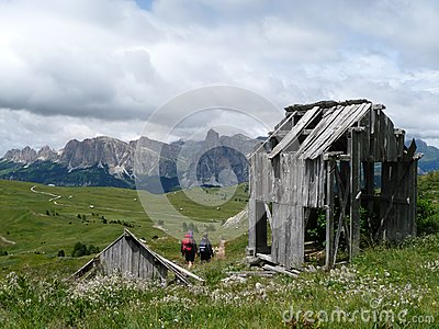 Wooden hut in the Dolomites