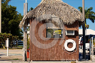 Wooden hut with grass roof in florida