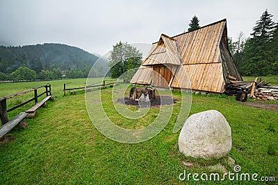 Wooden hut under Tatra mountains in Zakopane