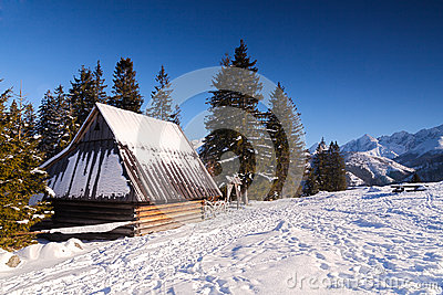 wooden hut near mountain - photo #16