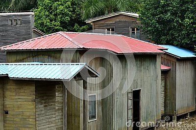 Wooden huts with colorful roof