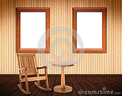 Wooden Interior with rocking chair