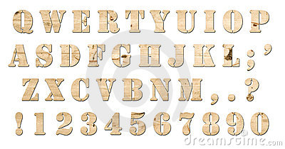 Wooden keyboard alphabet isolated