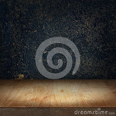 Free Wooden Kitchen Top Table With Bright Light Spot And Dark Stone B Royalty Free Stock Photography - 114769797