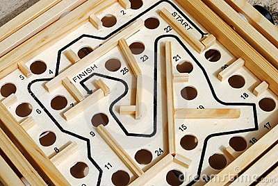 Wooden labyrinth with holes