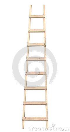 Wooden ladder vertical isolated stepladder