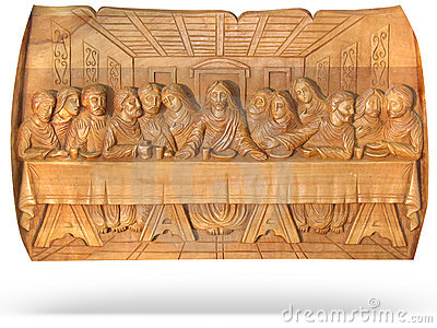 Wooden Last Dinner religion bas-relief isolated