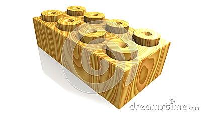 Wooden lego block (3D)