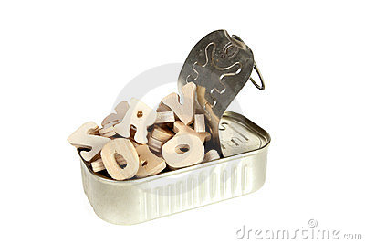 Wooden letters in a can