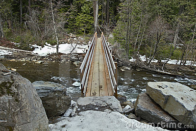 Wooden Log Bridge over River