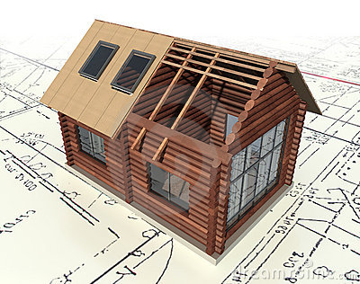 Wooden log house on the master plan.