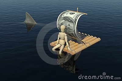 The wooden man floats on a raft with a sail from t