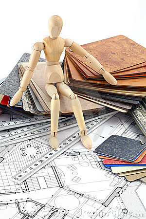 Wooden man, furnishing materials, blueprints
