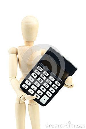 Wooden man hold calculator on white background