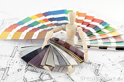Wooden man and palette of colors
