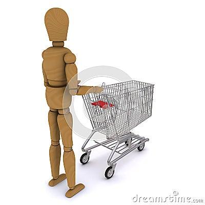 The wooden man rolls trolley (rear view)