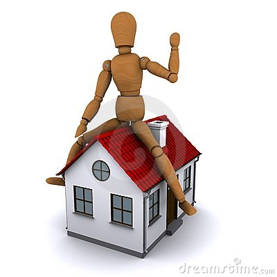The wooden man sitting on the roof of the house