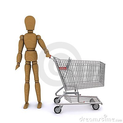 The wooden man standing next to trolley