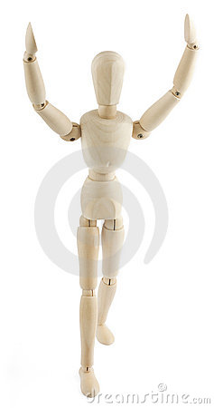 Free Wooden Manequin Raises His Arms To The Sky Stock Photography - 16153842