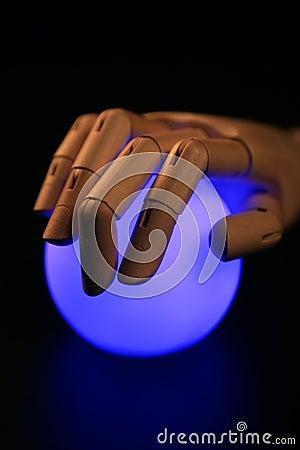 Wooden mannequin hand, light bgall, fortune teller