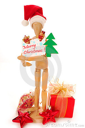 Wooden mannequin holding christmas card