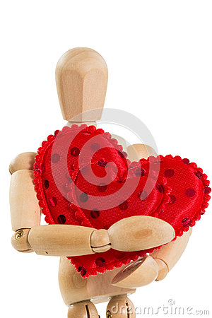 Free Wooden Mannequin Holding Red Heart, On White Royalty Free Stock Photography - 33994977