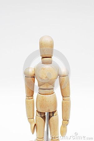 Wooden mannequin human scale model isolated