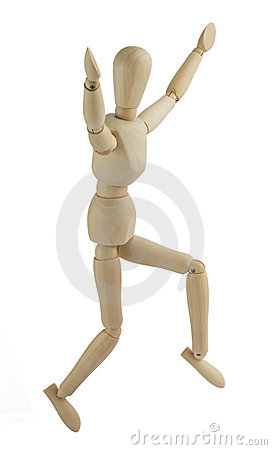 Wooden mannequin jumps