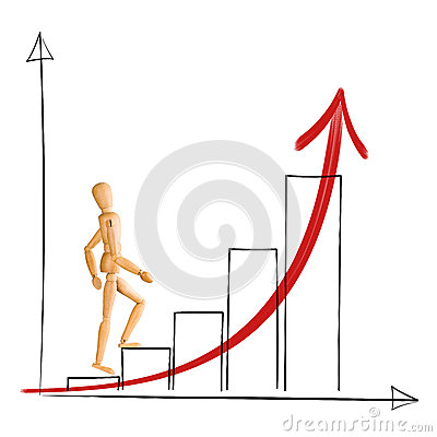 Free Wooden Mannequin Walking Up Chart Columns. Stock Photo - 42067410