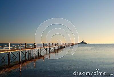 Wooden marine pier