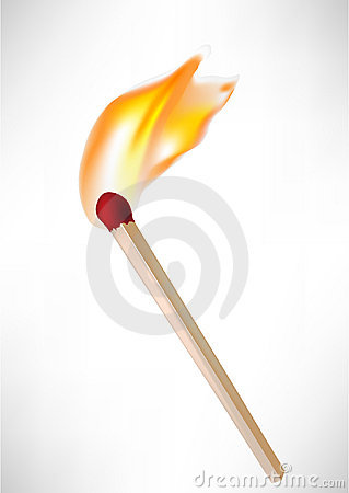 Wooden match with flame