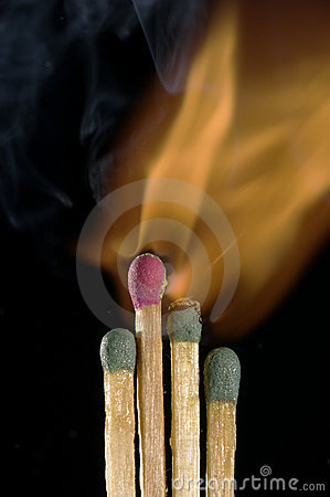 Wooden Matches Igniting