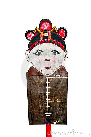 The Wooden measuring height of boy