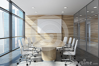 Wooden meeting room front view Stock Photo