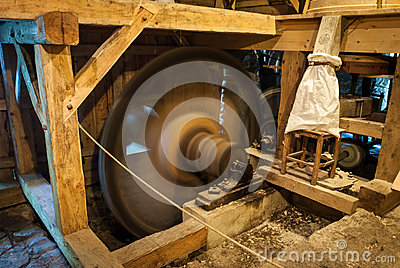 Wooden mill inside