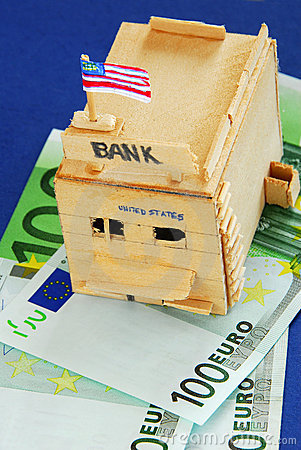 Wooden model of bank