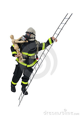 Wooden Model Fireman Rescuing Child on a Ladder