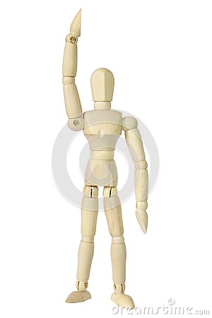 Wooden model isolated on white background.