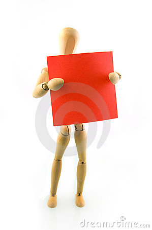 A wooden model with red note