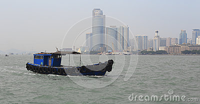 Wooden motor boat sailing Editorial Stock Photo