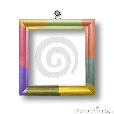 Wooden multicolored framework for portraiture