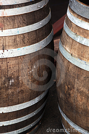 Wooden oak barrels