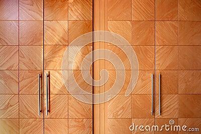 Wooden office modern closet orange doors