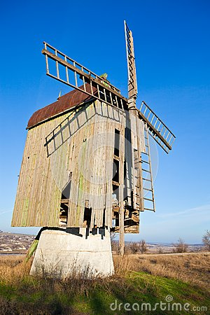Wooden old windmill