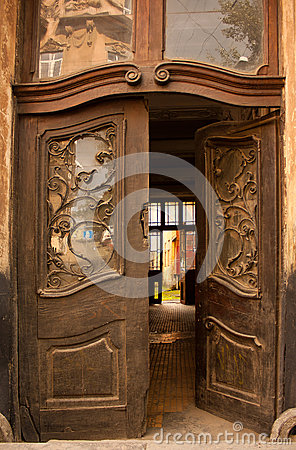 Wooden Open Pattern And Old Door Stock Images - Image ...