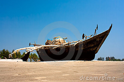 Wooden Outrigger Fishing Boat At Asvem Beach Royalty Free Stock ...