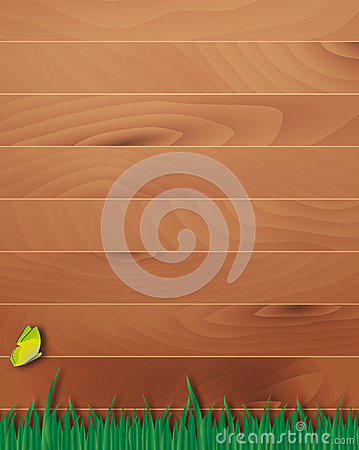 Wooden overlay background with grass