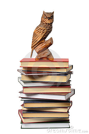 Wooden Owl and Books