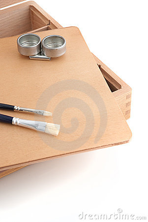 Wooden painter case with brushes