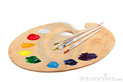 Wooden palette with paint on white